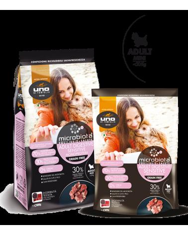UNO di Famiglia Microbiota Sensitive Digestive Monoproteico Adult Mini con Maiale Fresco Grain Free 600 g