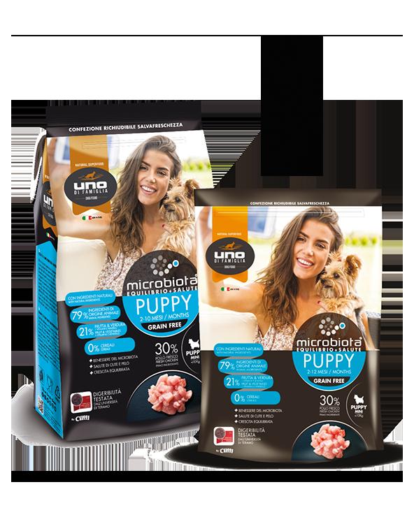 UNO di Famiglia Microbiota Puppy Mini con Pollo Fresco Grain Free 2 Kg