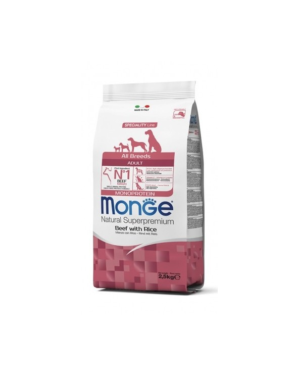 Monge Dog Natural Monoproteico All Breeds Adult Manzo e Riso 2.5 kg