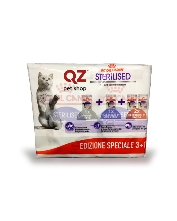 Royal Canin Feline Health Nutrition Adult Sterilised 1x Patè 1 x in Salsa 2 x in Jelly Multipack 4 x 85 g