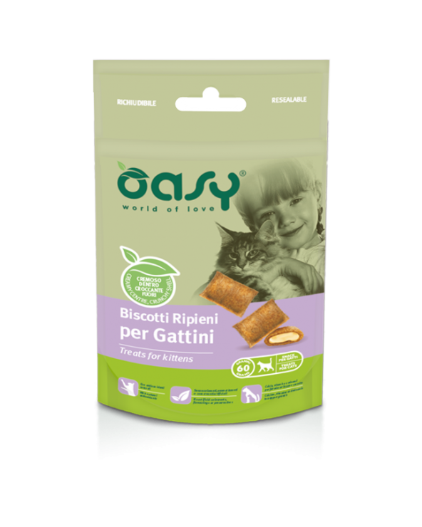 Oasy Cat Snack Biscotti Ripieni per Gattini con Pollo 60 g