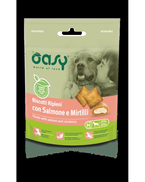 Oasy Dog Snack Biscotti Ripieni Adult con Salmone e Mirtillo 80 g