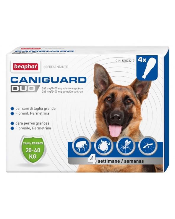 Beaphar CaniGuard Duo Antiparassitario per Cani L da 20 kg a 40 kg - 4 Fiale / Pipette