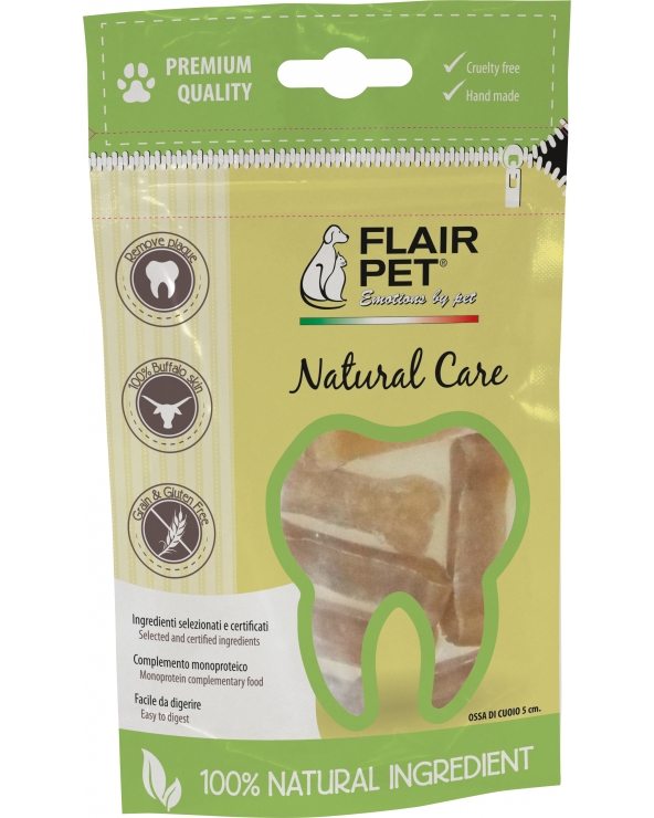 Flair Pet Ossi in Pelle di Bufalo Cruelty Free Naturali in Sacchetto da 8 Pz - 5 cm