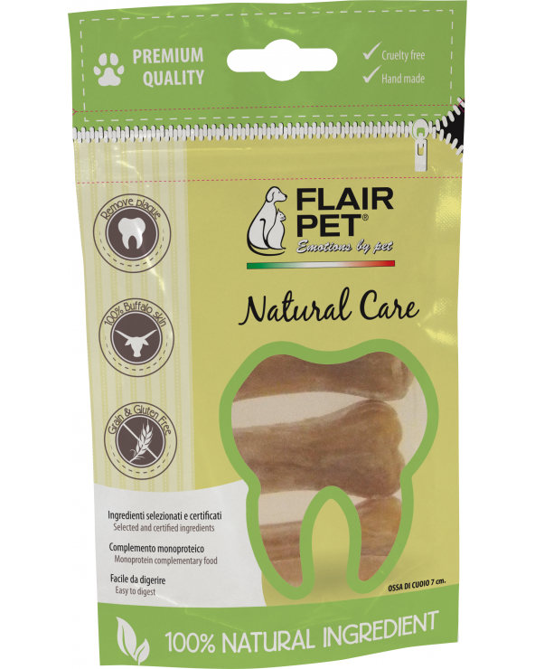 Flair Pet Ossi in Pelle di Bufalo Cruelty Free Naturali in Sacchetto da 4 Pz - 7 cm