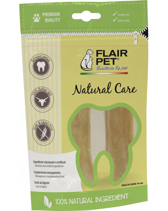 Flair Pet Ossi in Pelle di Bufalo Cruelty Free Naturali in Sacchetto da 2 Pz - 16 cm