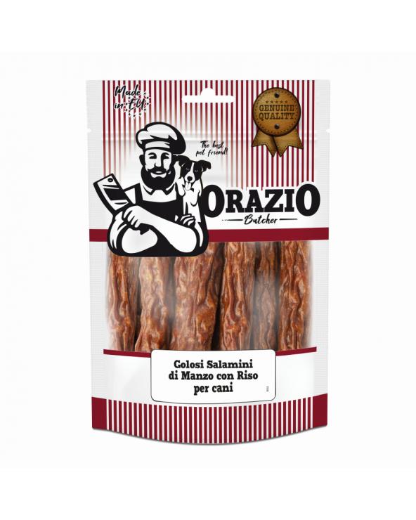 Orazio Butcher BARF Golosi Salamini di Manzo con Riso al Naturale 200 g - 10 Pezzi