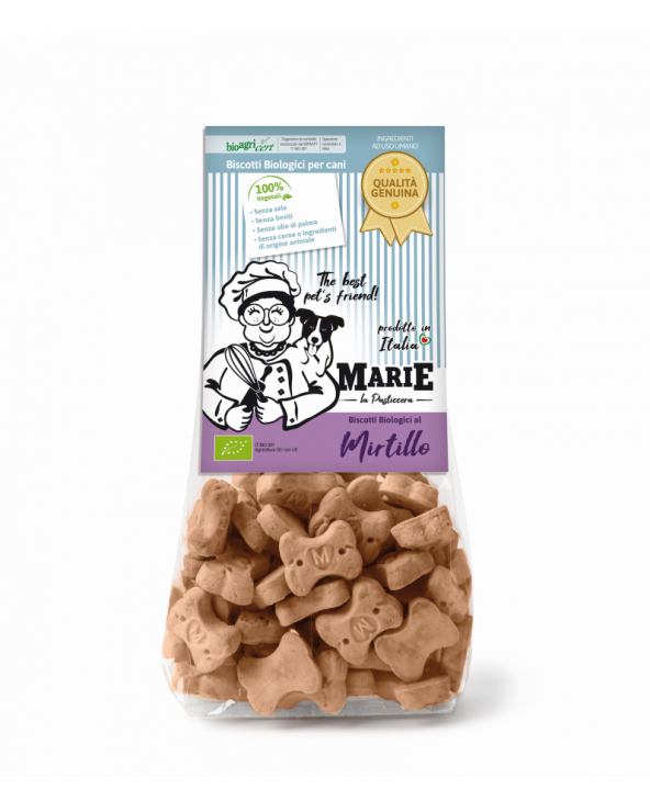 Marie La Pasticcera Biscotti Biologici per Cani con Mirtillo Bio - 210 g