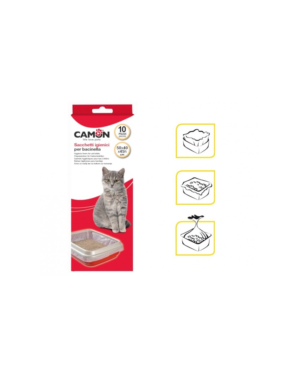 Camon Sacchetti Igienici per Lettiera - Sacchetti per Vaschetta - 10 Pz