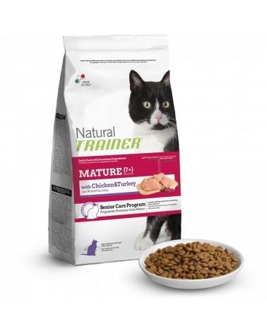 Natural Trainer Cat Mature Adult 7+ con Pollo Fresco e Tacchino 1,5 kg