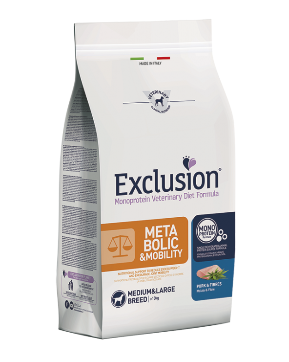 Exclusion Cane Diet Metabolic & Mobility Maiale e Fibre Medium & Large 12 kg