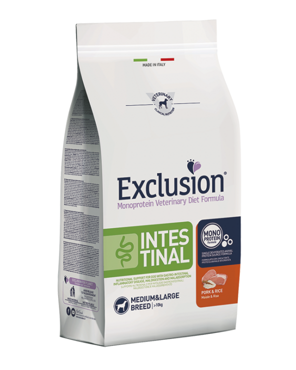 Exclusion Dog Diet Formula Intestinal con Maiale e Riso Medium & Maxi 3 kg