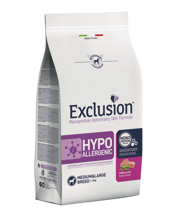 Exclusion Cane Hypoallergenic Maiale e Piselli Medium e Large 12 kg