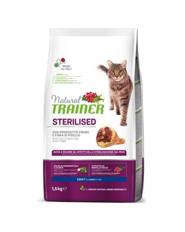 Natural Trainer Cat Adult Sterilized Prosciutto Crudo 1.5 kg