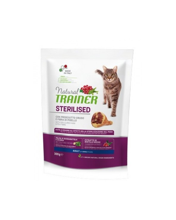 Natural Trainer Cat Adult Sterilized Prosciutto Crudo 300 g