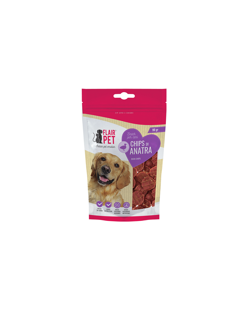 Flair Pet Snack Naturali Chips di Anatra 90 g