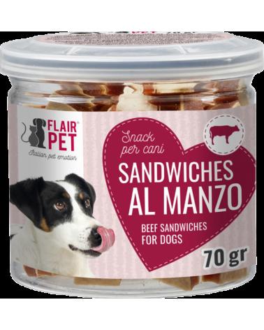 Flair Pet Snack Naturali Mini Sandwiches Manzo Merluzzo e Tonno Barattolino 70 g