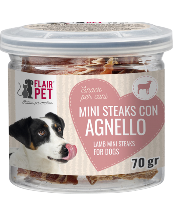 Flair Pet Snack Naturali Mini Steaks Agnello e Merluzzo Barattolino 70 g