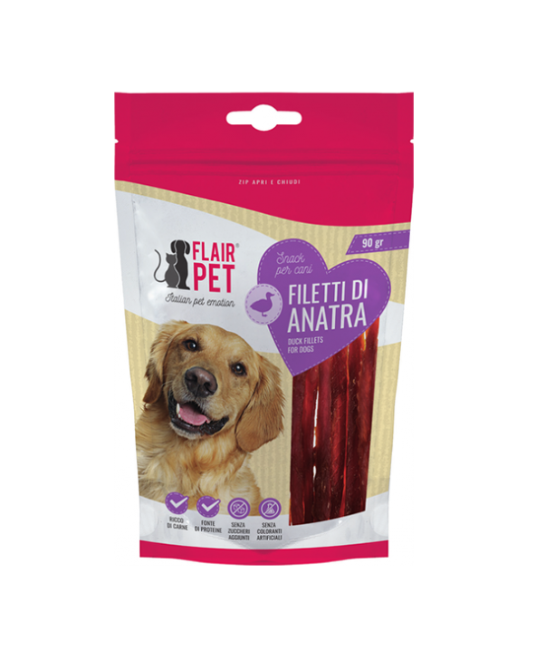 Flair Pet Snack Naturali Filetti di Anatra Busta 90 g