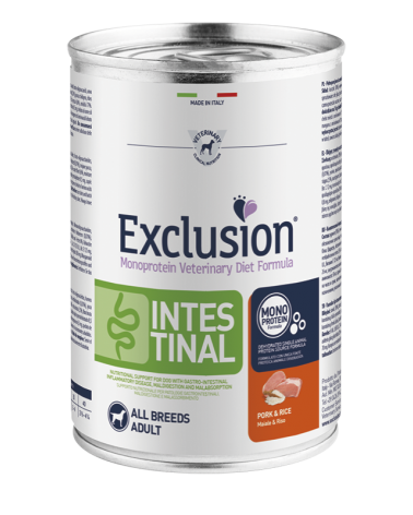 Exclusion Dog Diet Intestinal Adult Maiale e Riso All Breeds Lattina in Patè 400 g