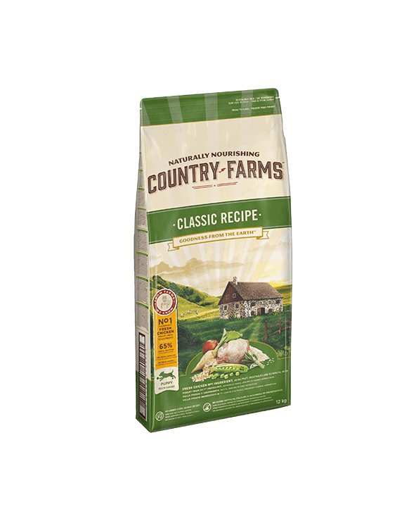 Country Farms Classic Recipe per Cuccioli Puppy & Junior con Pollo Polpa di Mele e Salvia 12 kg