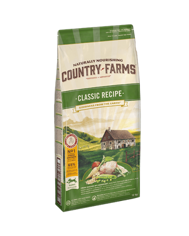 Country Farms Classic Recipe per Cuccioli Puppy & Junior con Pollo Polpa di Mele e Salvia 12 kg