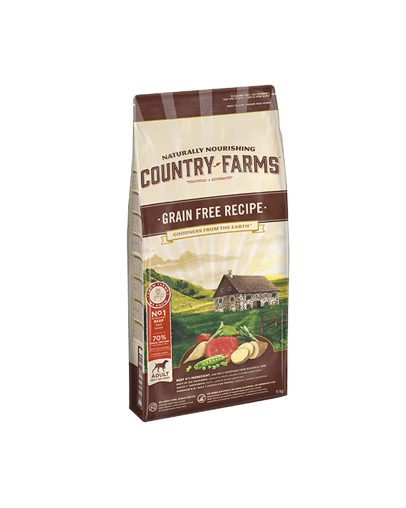 Country Farms Grain Free Recipe Adult con Manzo Manioca Polpa di Mele e Salvia 2.5 Kg