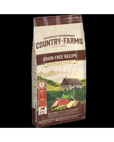 Country Farms Grain Free Recipe Adult con Manzo Manioca Polpa di Mele e Salvia 11 Kg