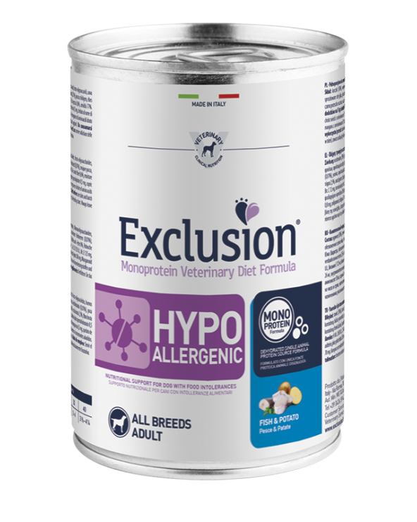 Exclusion Cane Diet Hypoallergenic Pesce e Patate Patè 400 g