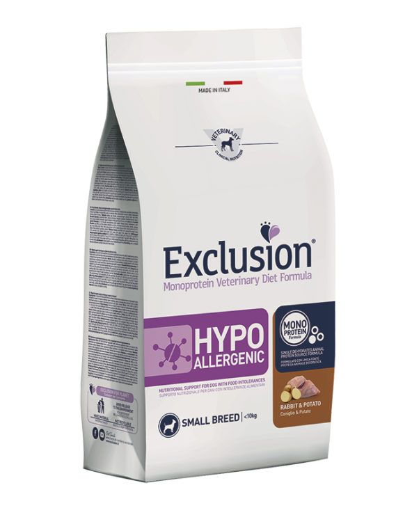 Exclusion Hypoallergenic Monoproteico Cane Coniglio e Patate Adult Small Breed 2 kg