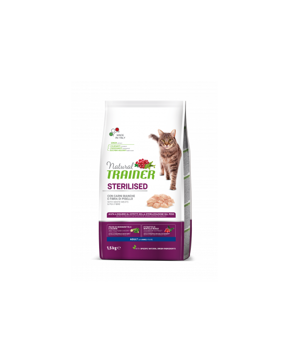 Natural Trainer Cat Adult Sterilized Carni Bianche 1.5 kg