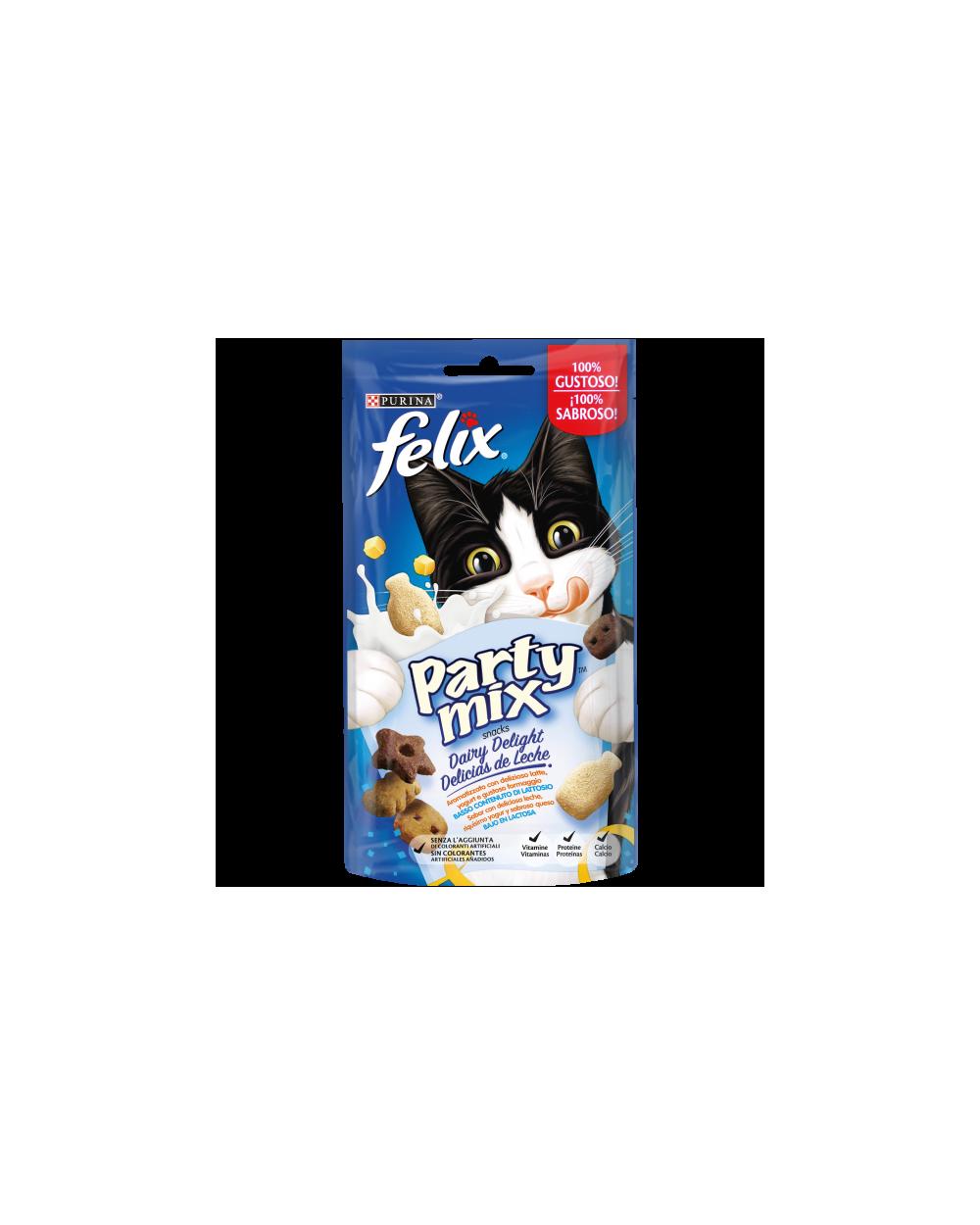 Felix Party Mix Snack per Gatti Dairy Delight con Latte Yogurt e Formaggio