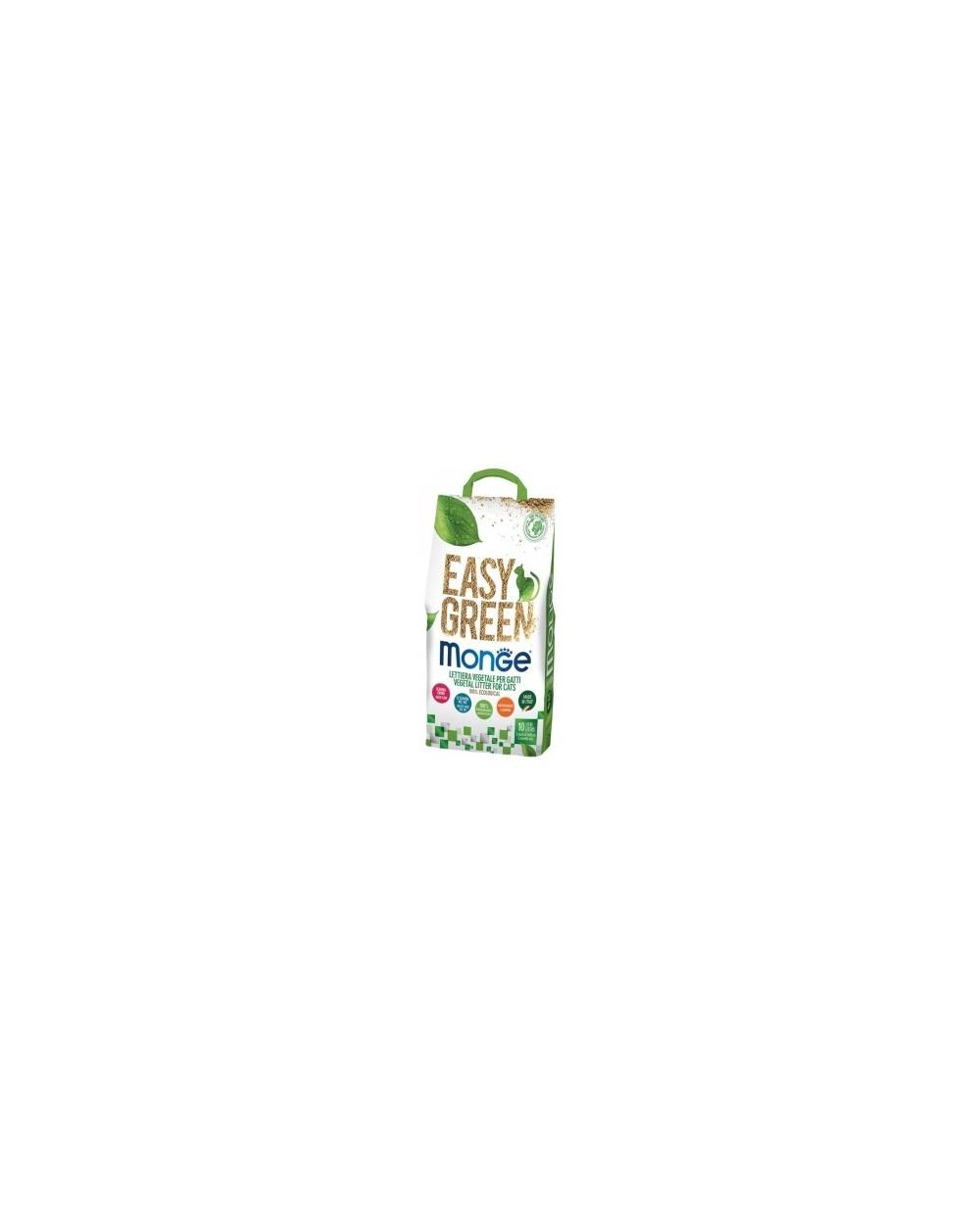 Monge Lettiera per Gatti Ecologica Biodegradabile Agglomerante Easy Green Fibre Vegetali 10 Lt