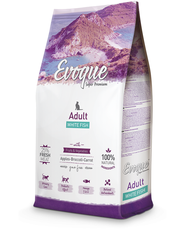 Evoque Cat Adult con Pesce Bianco Mela Broccoli e Carote 1.5 kg