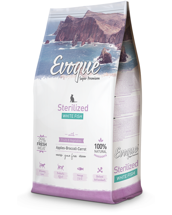 Evoque Cat Adult Sterilised con Pesce Bianco Mela Broccoli e Carote 300 g