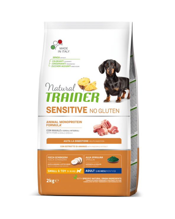 Natural Trainer Sensitive NO Gluten (Ex Fitness 3) Adult Mini con Maiale e Cereali Integrali 2 Kg