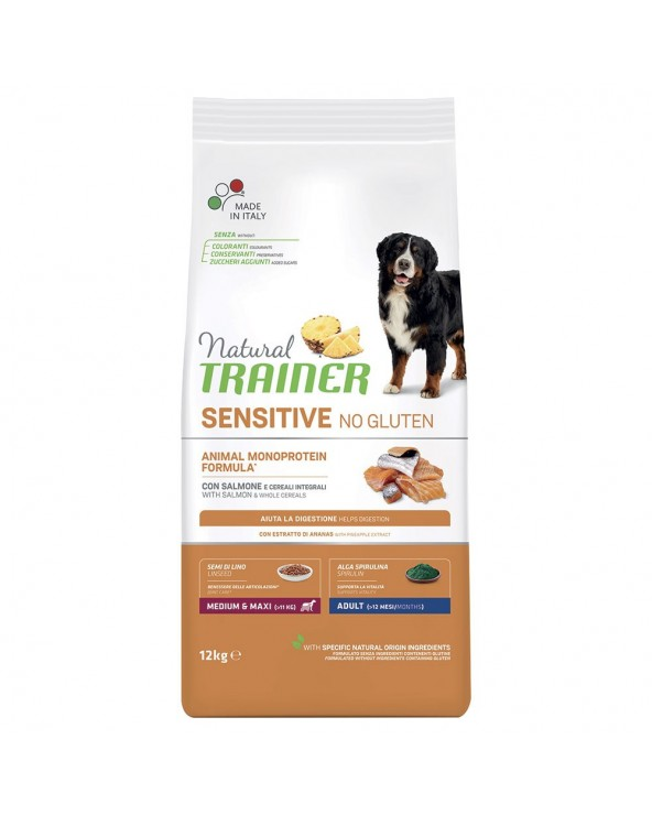 Natural Trainer Sensitive NO Gluten (Ex Fitness 3) Adult Medium Maxi con Maiale e Cereali Integrali 12 Kg
