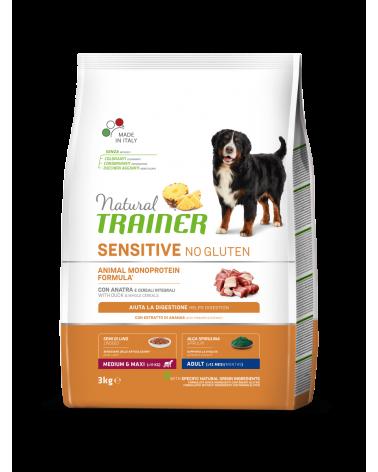 Natural Trainer Sensitive NO Gluten (Ex Fitness 3) Adult Medium e Maxi con Anatra e Cereali Integrali 3 Kg