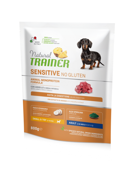 Natural Trainer Sensitive NO Gluten (Ex Fitness 3) Adult Mini con Agnello e Cereali Integrali 800 g