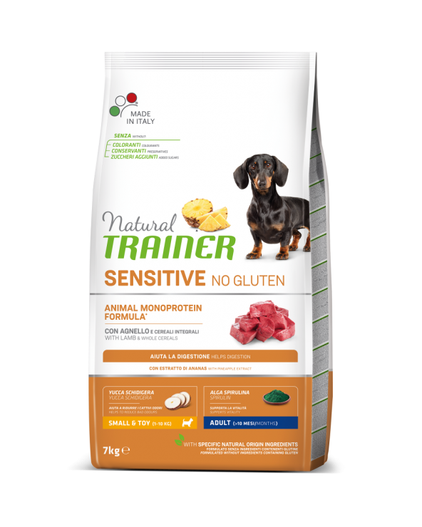 Natural Trainer Sensitive NO Gluten (Ex Fitness 3) Adult Mini con Agnello e Cereali Integrali 7 kg
