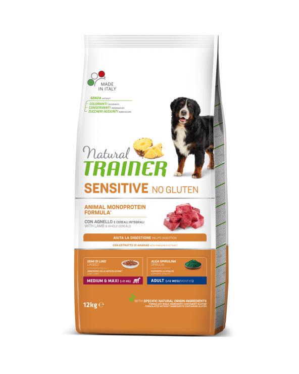 Natural Trainer Sensitive NO Gluten (Ex Fitness 3) Adult Medium e Maxi con Agnello e Cereali Integrali 12 kg