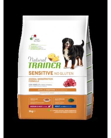 Natural Trainer Sensitive NO Gluten (Ex Fitness 3) Adult Medium e Maxi con Agnello e Cereali Integrali 3 kg