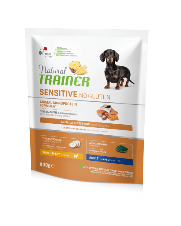 Natural Trainer Sensitive NO Gluten (Ex Fitness 3) Adult Mini con Salmone e Cereali Integrali 800 g