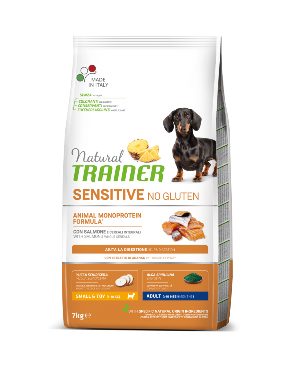 Natural Trainer Sensitive NO Gluten (Ex Fitness 3) Adult Mini con Salmone e Cereali Integrali 7 kg