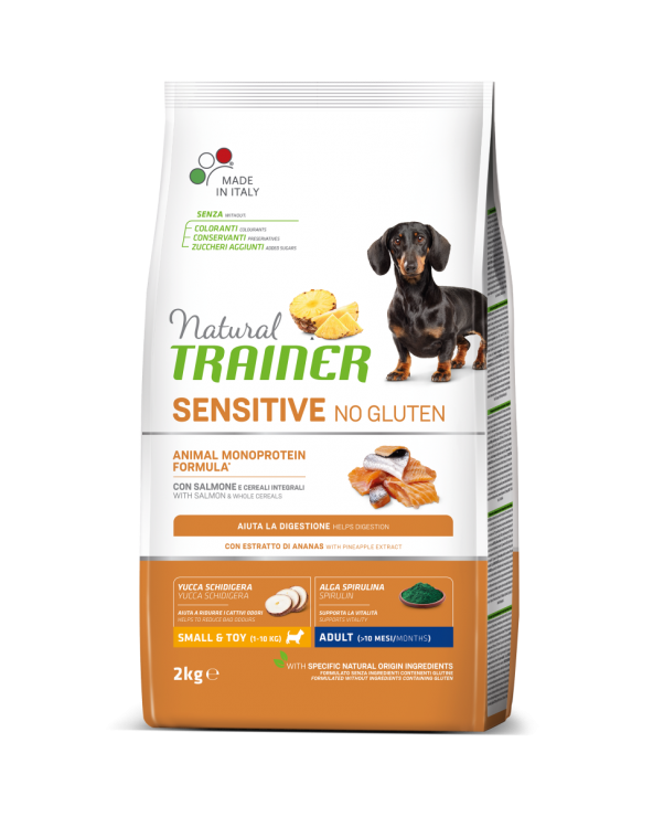 Natural Trainer Sensitive NO Gluten (Ex Fitness 3) Adult Mini con Salmone e Cereali Integrali 2 kg