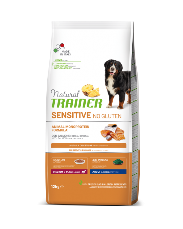 Natural Trainer Sensitive NO Gluten (Ex Fitness 3) Adult Medium Maxi con Salmone e Cereali Integrali 12 Kg