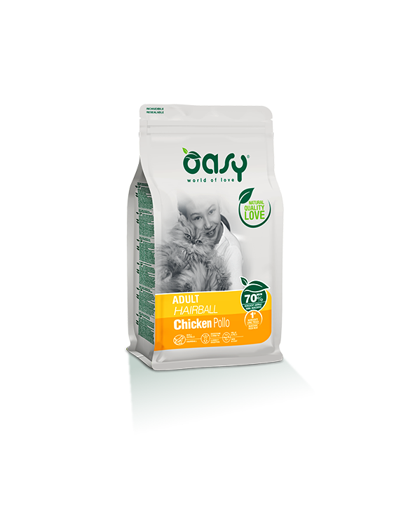 Oasy Cat Adult Hairball con Pollo 1.5 kg