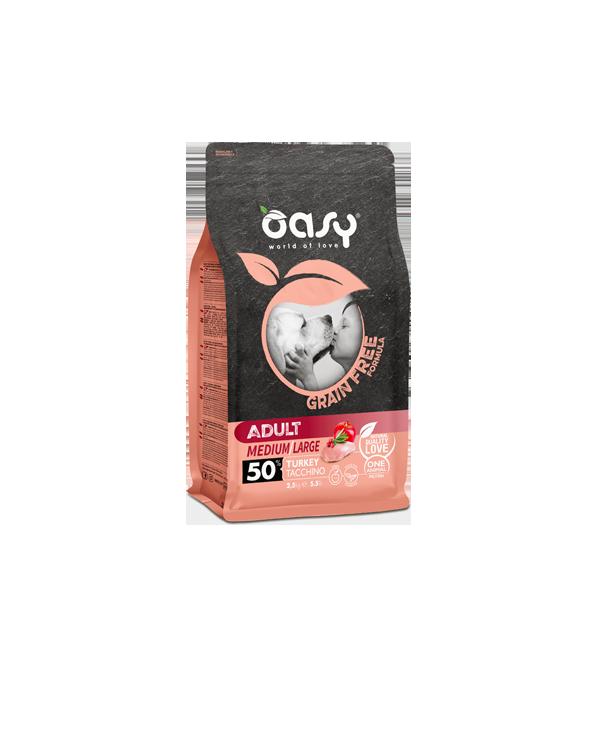 Oasy Dog Grain Free Adult Medium e Large Tacchino Fresco 12 kg