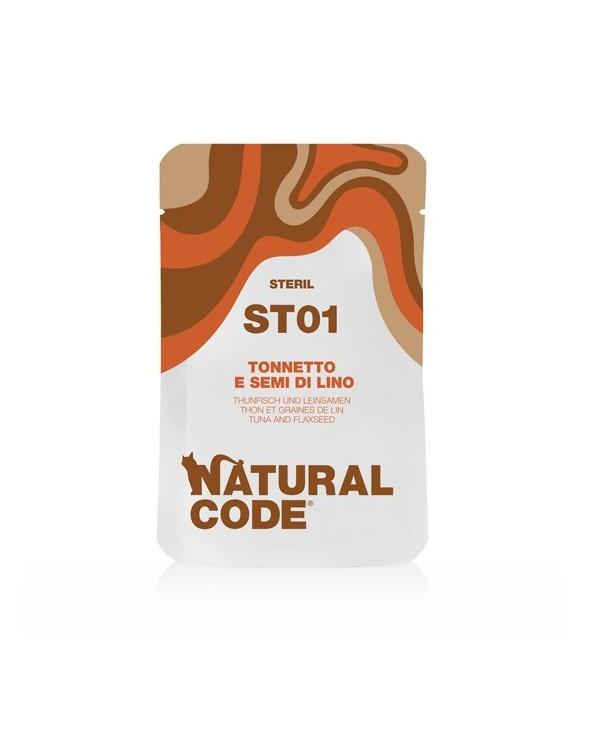 Natural Code Cat Pouches ST01 Sterilized Tonnetto e Semi di Lino Bustina 70 g