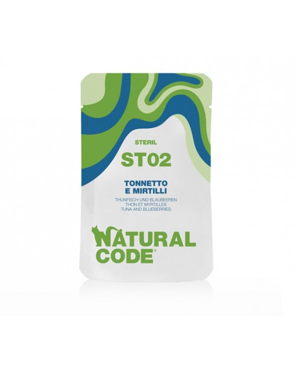 Natural Code Cat Pouches ST02 Sterilized Tonnetto e Mirtilli Bustina 70 g